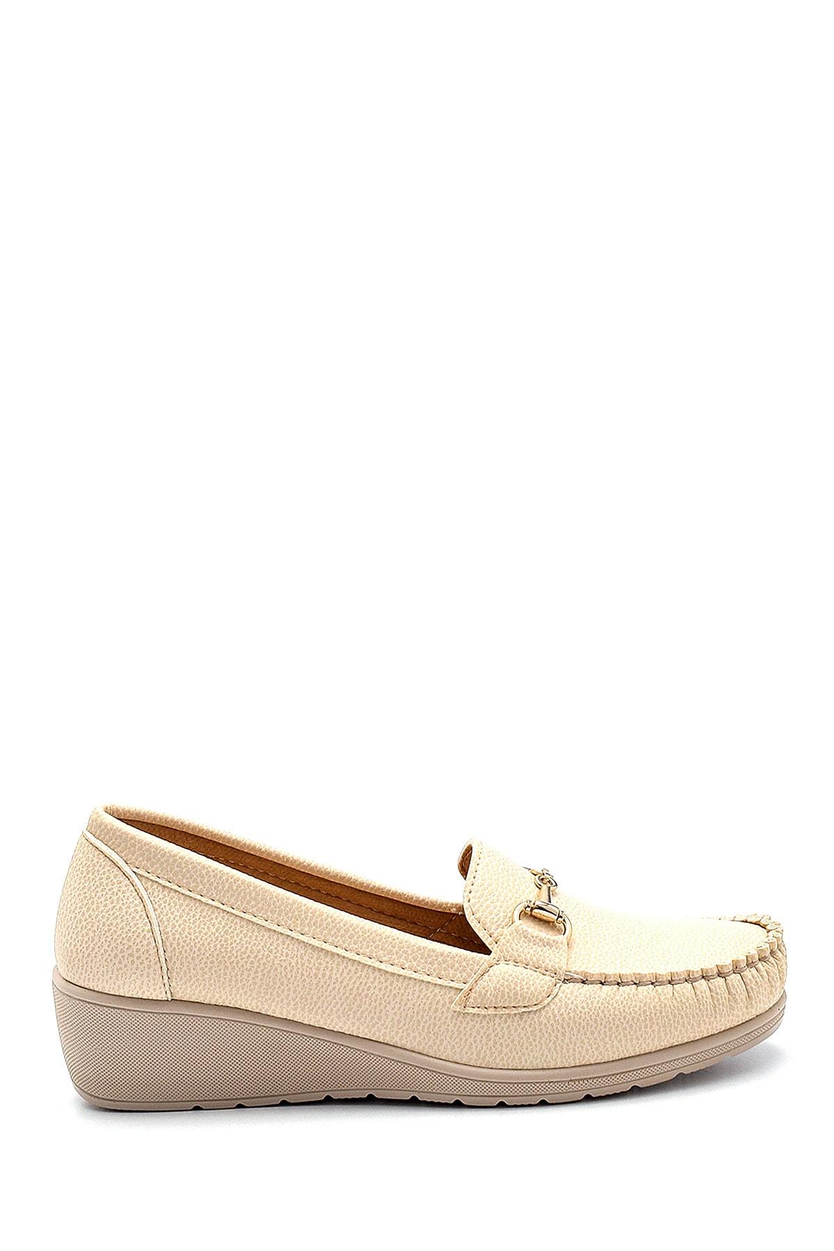Derimod Kadın Bej Dolgu Topuklu Loafer Ayakkabı 1