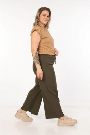 Womenice Kadın Haki Dökümlü Bol Paça Pantolon