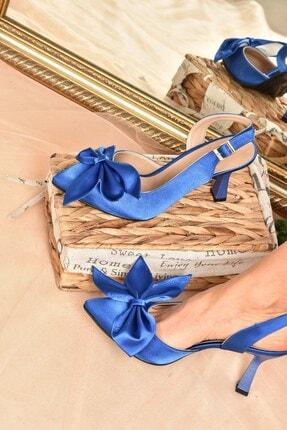 Fox Shoes Kadın Saks Mavi Saten Kumaş Topuklu Ayakkabı K922164804