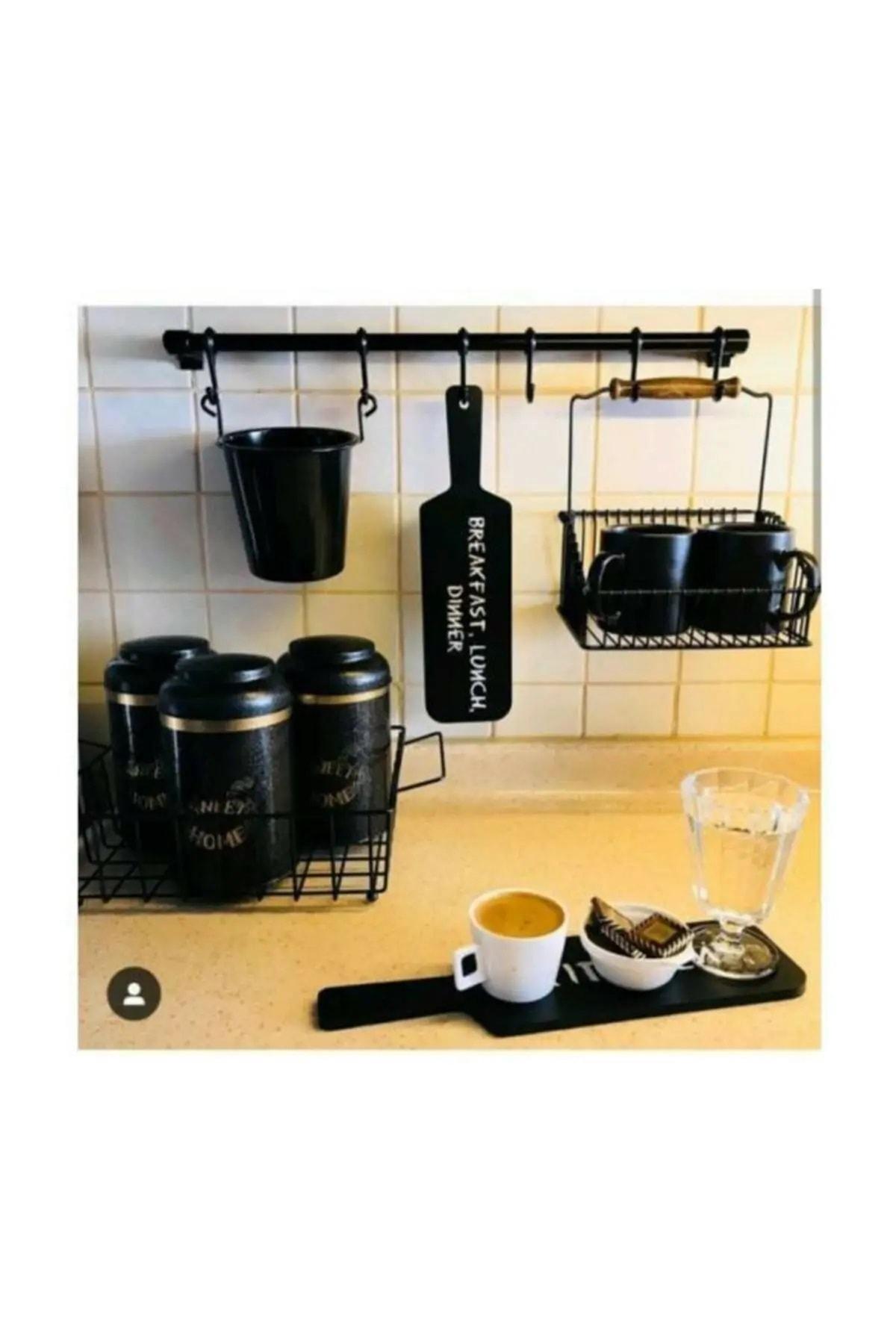 Orvila Siyah Metal Mutfak Ve Banyo Askısı Çok Amaçlı 8 Kancalı Askı Demiri Maxi 72 Cm 2