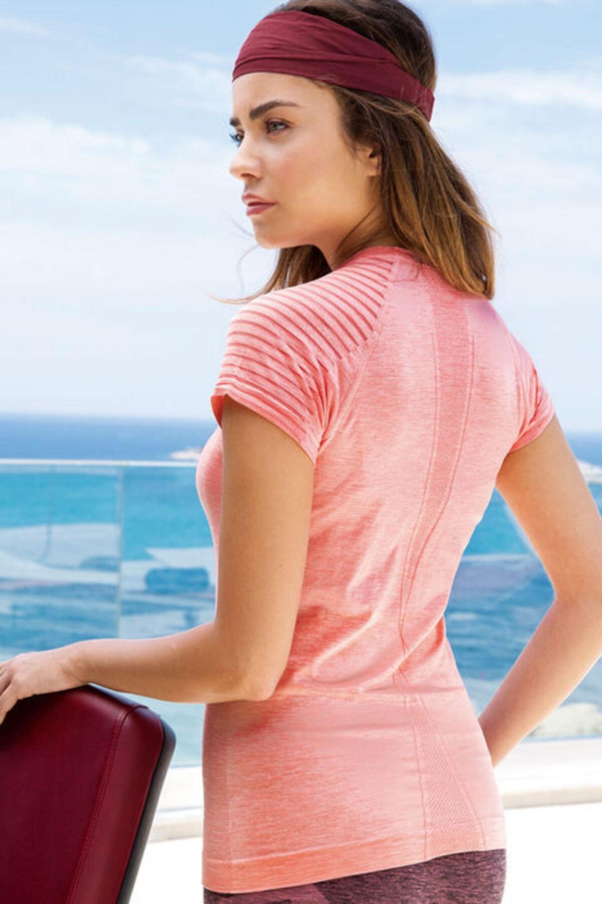 Yeni İnci Kadın Somon Melanj Sporcu T-shirt 2