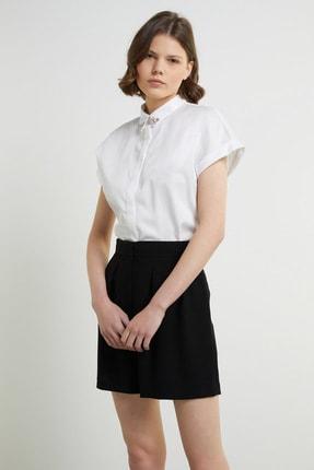 Network Kadın Basic Fit Beyaz Taş İşleme Detaylı Gömlek 1079506