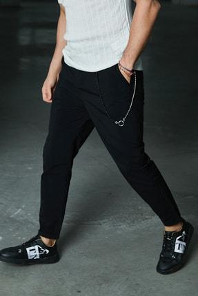 Sateen Men Erkek Siyah Aksesuarlı Jogger Pantolon