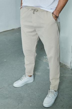Sateen Men Erkek Bej Duble Paça Pantolon