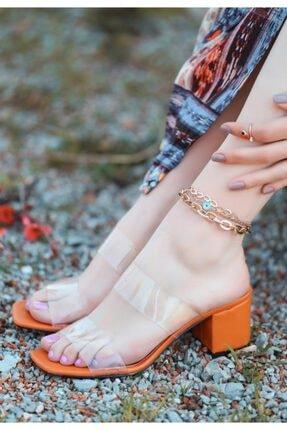 ESPARDİLE Kadın Turuncu Cilt Topuklu Terlik