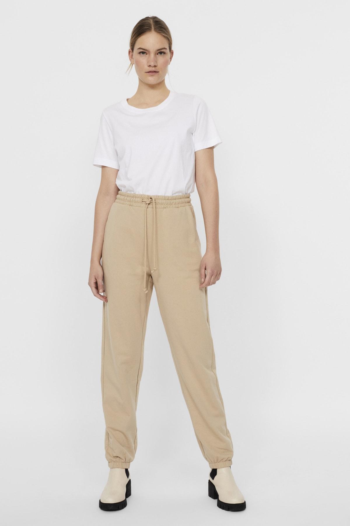Vero Moda Kadın White Pepper Paçası Lastikli Yüksek Bel Sweat Pantolon 10252961 VMOCTAVIA