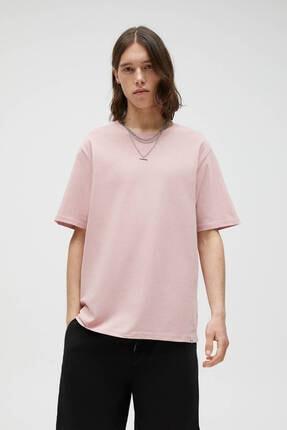 Pull & Bear Erkek Pembe Basic T-shirt