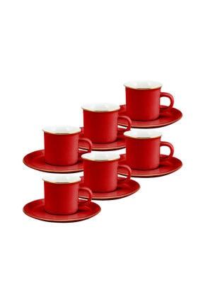 Emsan Kısmet Kırmızı 6'lı Kahve Fincan Takımı