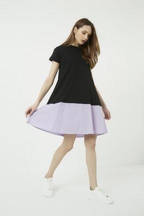 Vis a Vis Kadın Siyah Çift Renk Salaş Elbise
