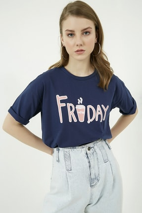 Vis a Vis Kadın Lacivert Baskılı Rahat Kesim T Shirt