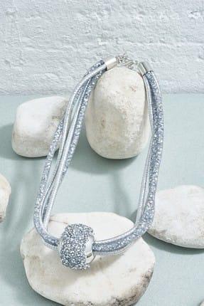ZİNDİ Kadın Yuvarlak Top Detaylı İşlemeli Kolye Gümüş Rengi K-3051025-040