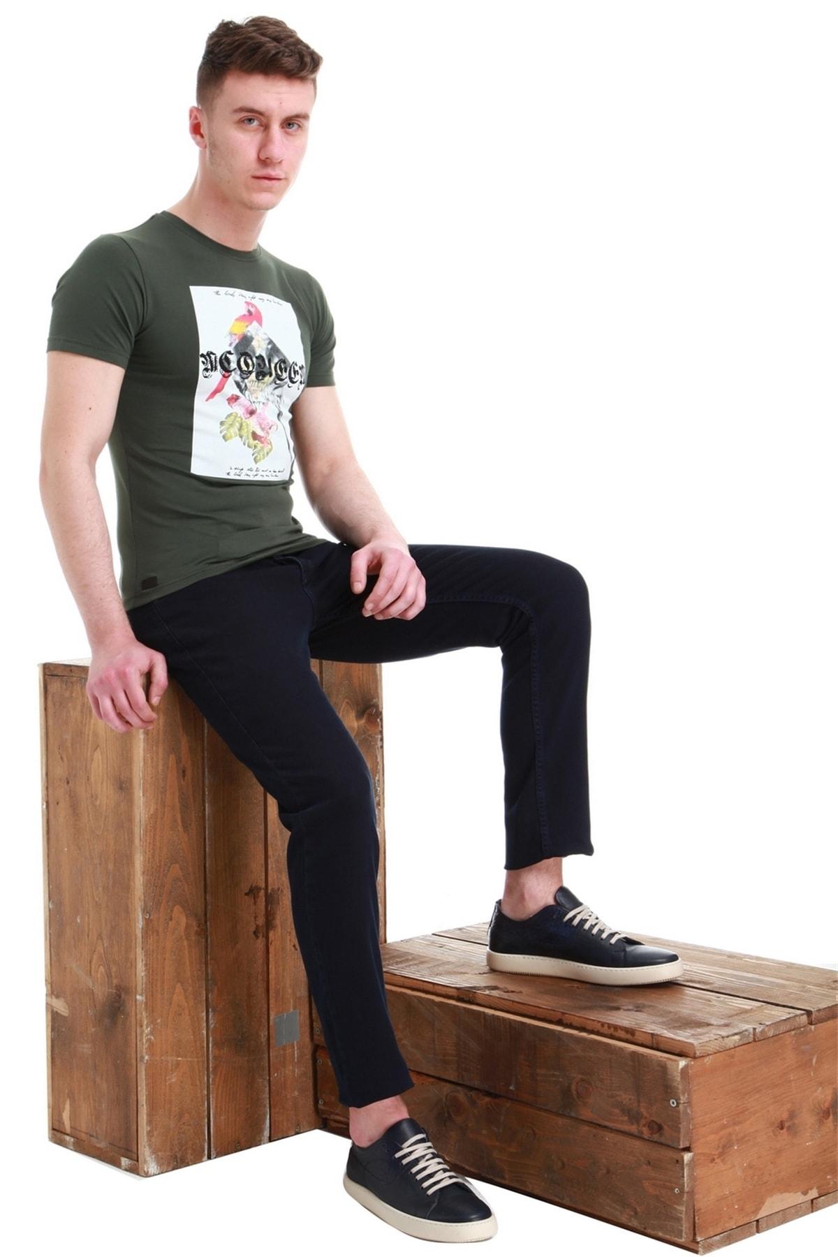Efor Ts 749 Slim Fit Haki Spor T-shirt 1