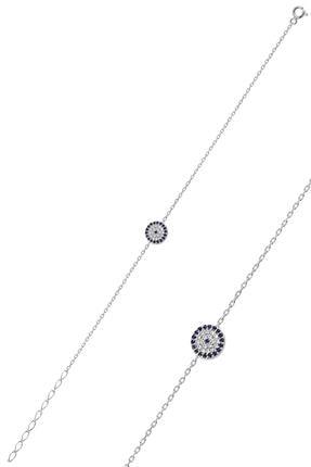 Söğütlü Silver Gümüş Rodyumlu Nazarlı Bileklik