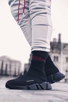 SHOELAND Unisex Siyah Çoraplı Spor Ayakkabı