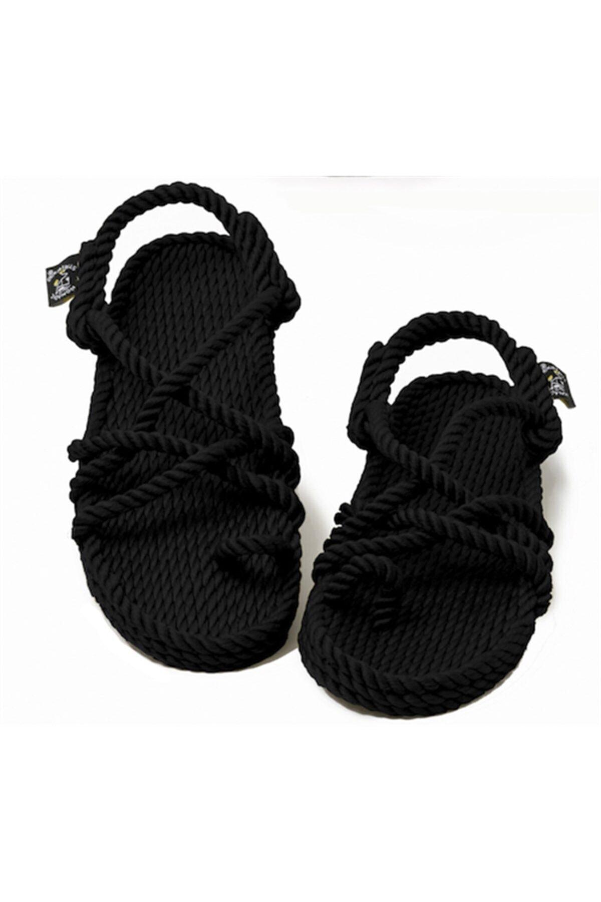 Nomadic State Of Mind - Toe Joe Siyah Hasır Ip Sandalet 2