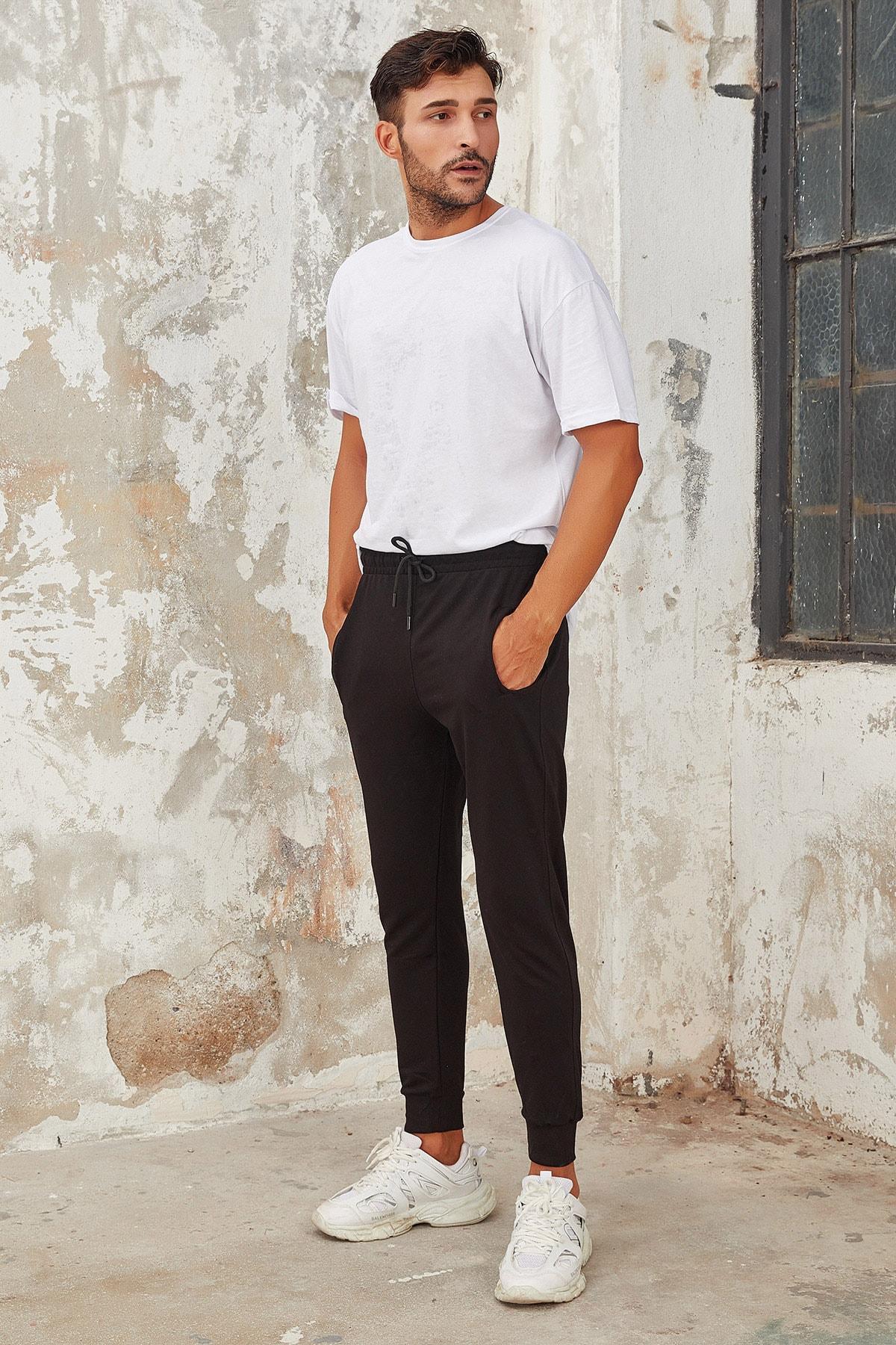 OnlyCool Erkek Siyah Dar Paça Jogger Eşofman Altı 1