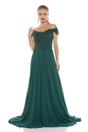 Abiye Sarayı Yeşil Güpür Işlemeli Düşük Omuzlu Şifon Abiye Elbise