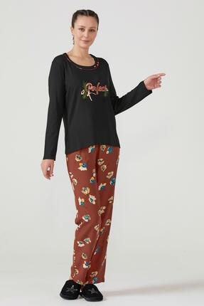 Sementa Nakış Desenli Kadın Pijama Takımı - Siyah - Kiremit