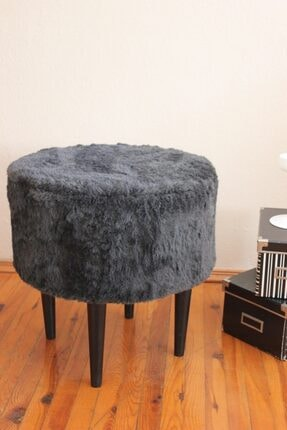 ALBATROS Gürgen Ahşap Ayaklı Dekoratif Siyah Antrasit Yuvarlak Pelüş Puf Bench Koltuk Sandalye