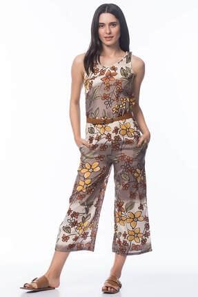 Pitti Kadın Vizon Sarı Desenli Tulum 40173
