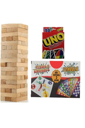HeCe 54 Parça Jenga Denge Oyunu+uno Kart Oyunu+tombala Ve Kızma Birader 3lü Set
