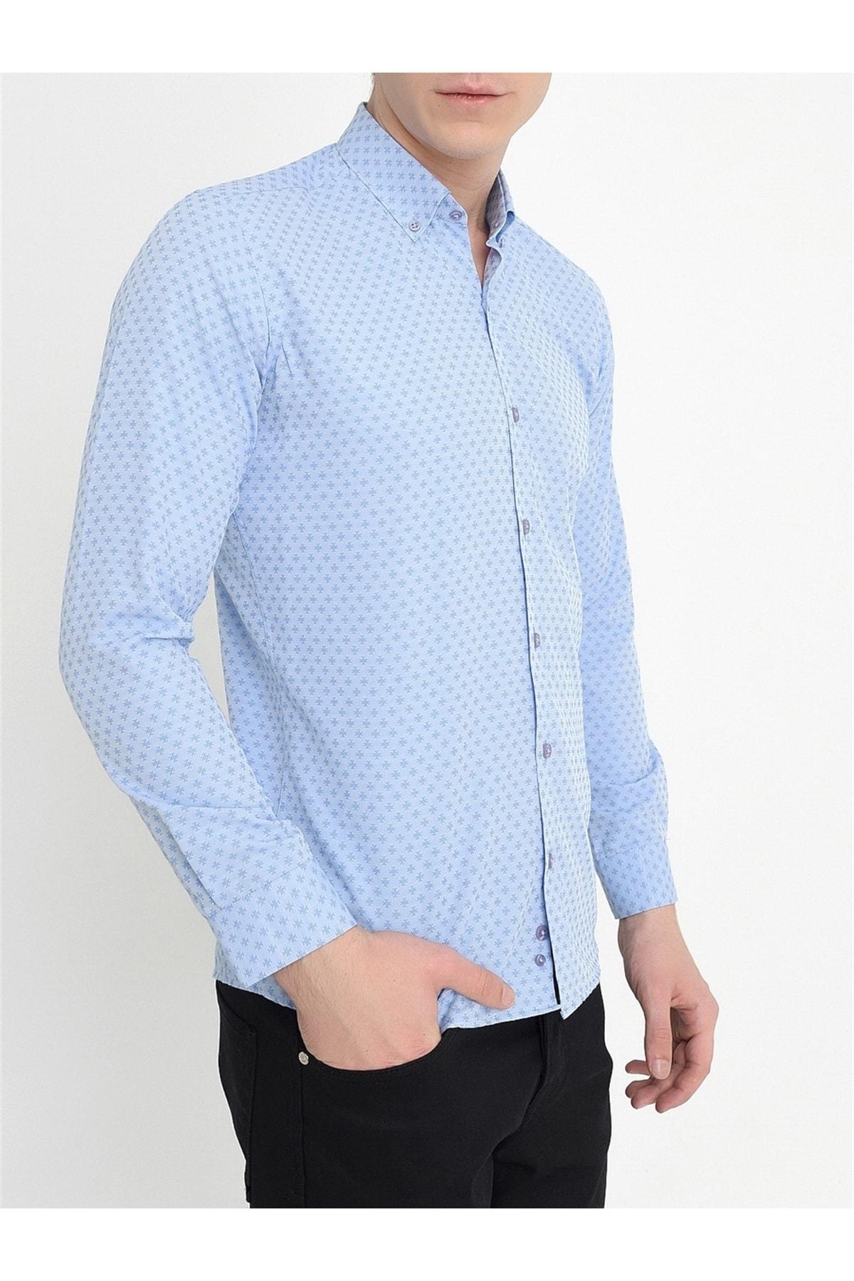Efor Gk 559 Slim Fit Mavi Klasik Gömlek 2