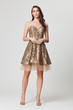 Abiye Sarayı Gold Transparan Kısa Abiye Elbise