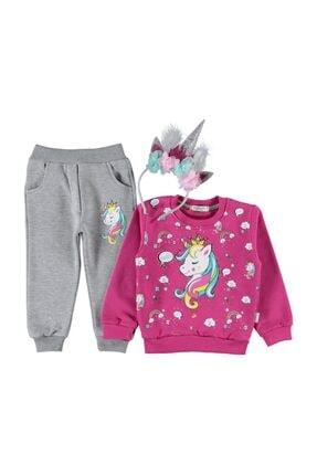 DISNEY Kız Çocuk Unicorn Baskılı Taçlı Eşofman Takım