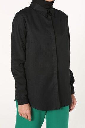 ALLDAY Siyah Gizli Patlı Kısa Düğmeli Gömlek