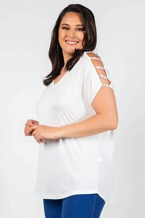 Womenice Büyük Beden Beyaz Kolları Açık Incili Bluz