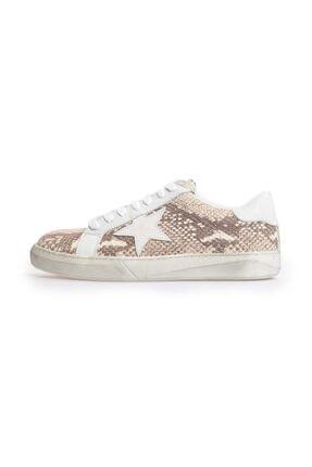 Flower Beyaz Naturel Yılan Baskı Logolu Eskitmeli Sneakers