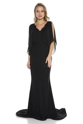Abiye Sarayı Siyah Kol Detaylı Bel Ve Yaka Işlemeli V Yaka Balık Abiye Elbise