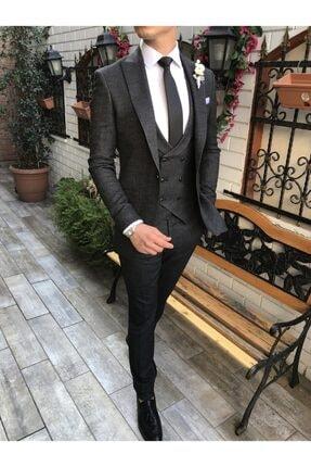 TerziAdemAltun Italyan Stil Ceket Yelek Pantolon Siyah Takım Elbise T3720