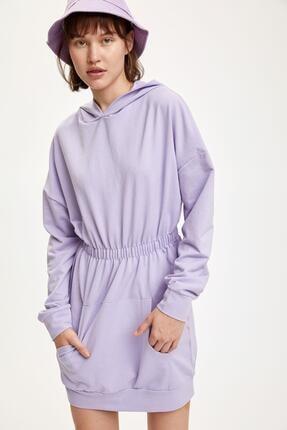 DeFacto Beli Büzgülü Uzun Kollu Elbise