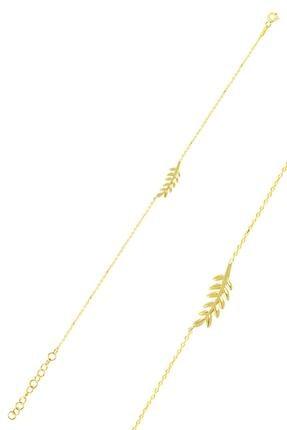 Söğütlü Silver Gümüş Altın Yaldızlı Yaprak Bileklik
