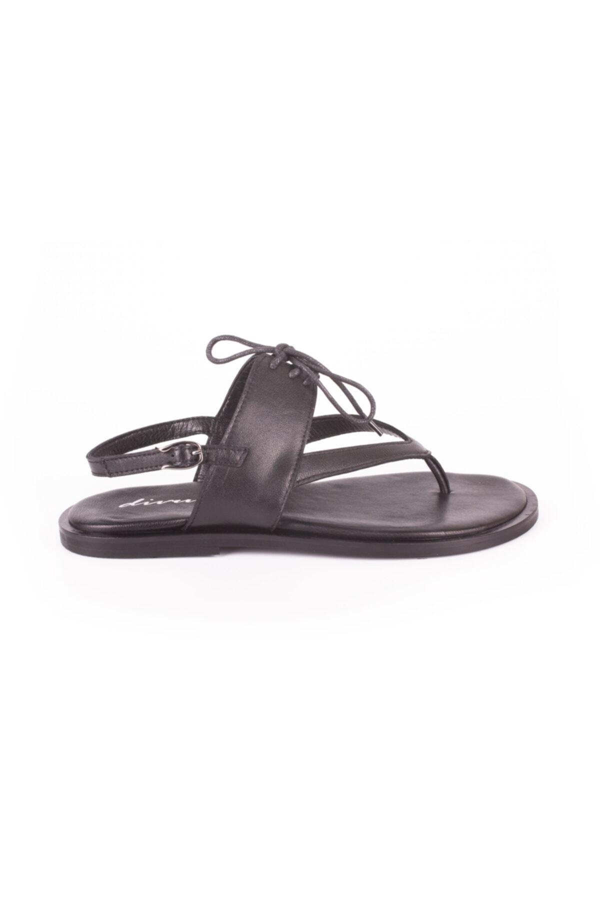 DİVUM Siyah Deri Sandalet 1