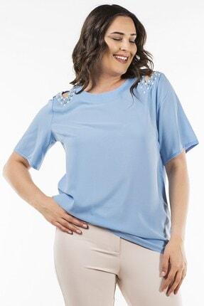 Womenice Mavi Omuz Açık Boncuklu Bluz