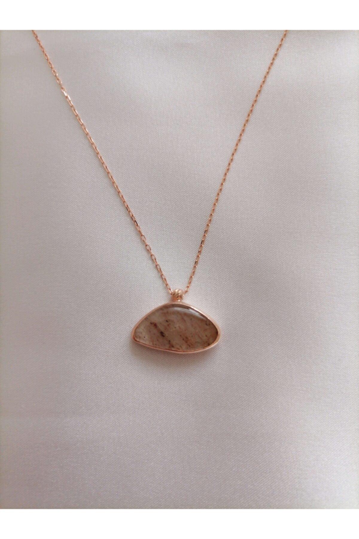 Simaria Takı 925 Ayar Gümüş Rose Kaplama Kolye 2