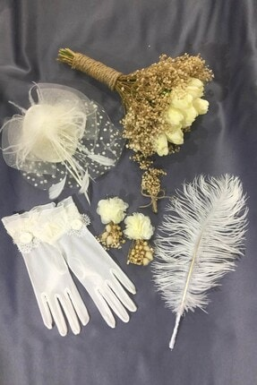 Hayalperest boncuk Lale Gelin Çiçeği - Eldiven - Nikah Şapkası - Kalem - Küpe - Yaka Çiçegi Seti