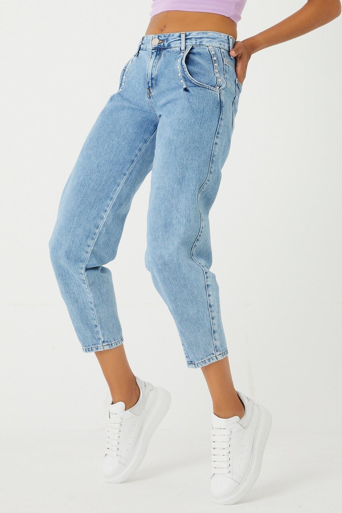 A.M.N Denim Normal Bel Trok Detaylı Paça Lastikli Boy Friend Denim Pantolon 2