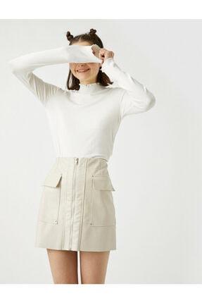 Koton Kadın Beyaz Uzun Kollu Dik Yaka T-Shirt