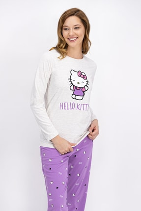 Hello Kitty Lisanslı Kremmelanj Kadın Pijama Takımı
