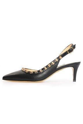 Flower Siyah Pim Detaylı Topuklu Sandalet