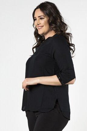 Womenice Büyük Beden Siyah Ön Parçalı Bluz