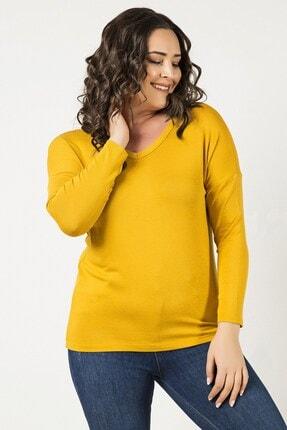 Womenice Sarı Ön Arka Dekolte Bluz