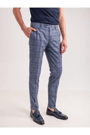 Dufy Lacivert Ekose Desen Klasik Erkek Pantolon - Modern Fit