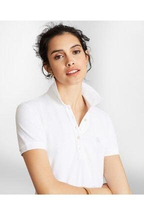 BROOKS BROTHERS Kadın Beyaz Supima Polo Yaka Pike T-shirt