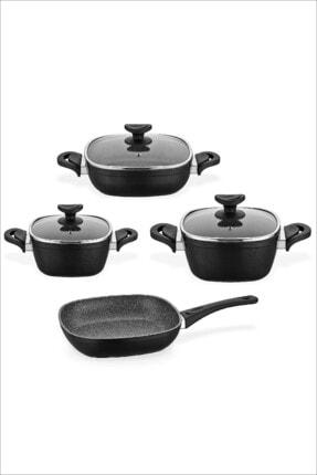 Schafer Gastronomie 4lü Indüksiyon Ocak Uyumlu Granit Tencere Tava Seti