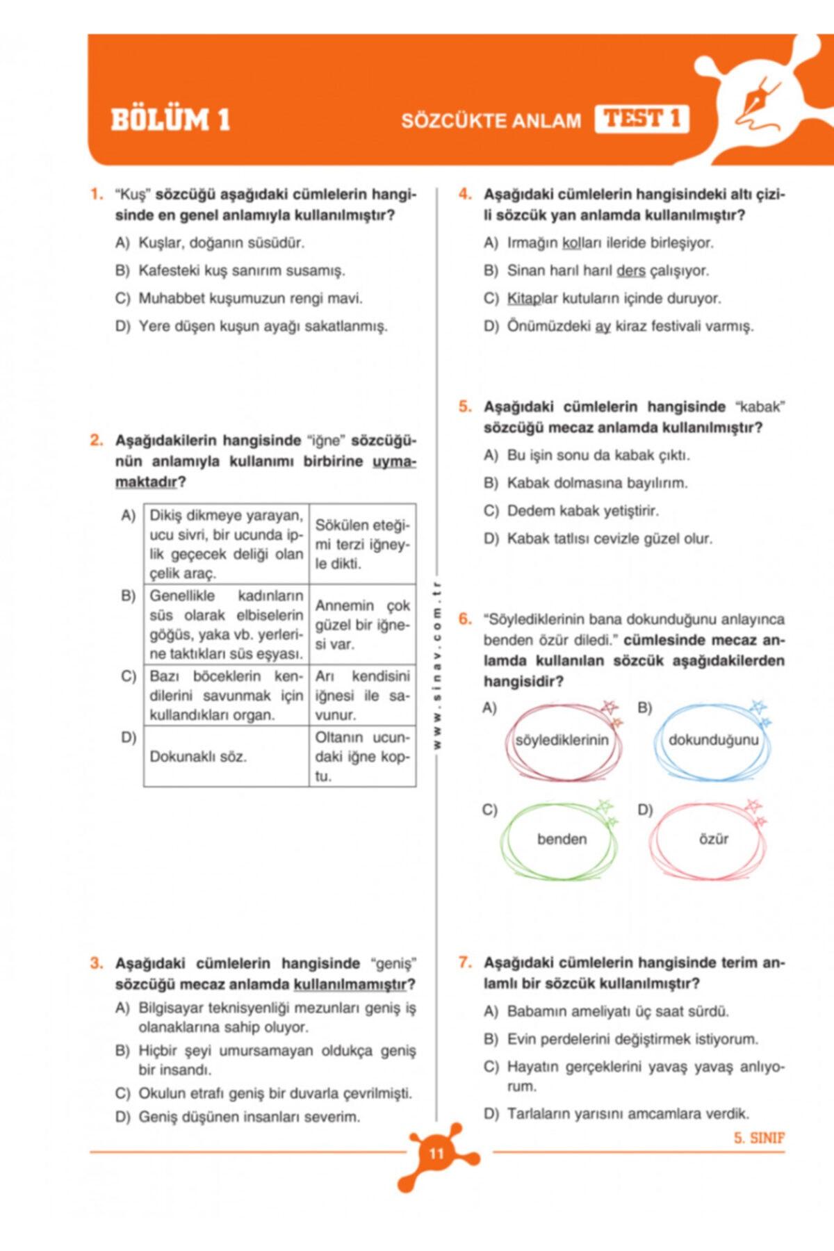 Sınav Yayınları 5. Sınıf Tüm Dersler Soru Bankası 2
