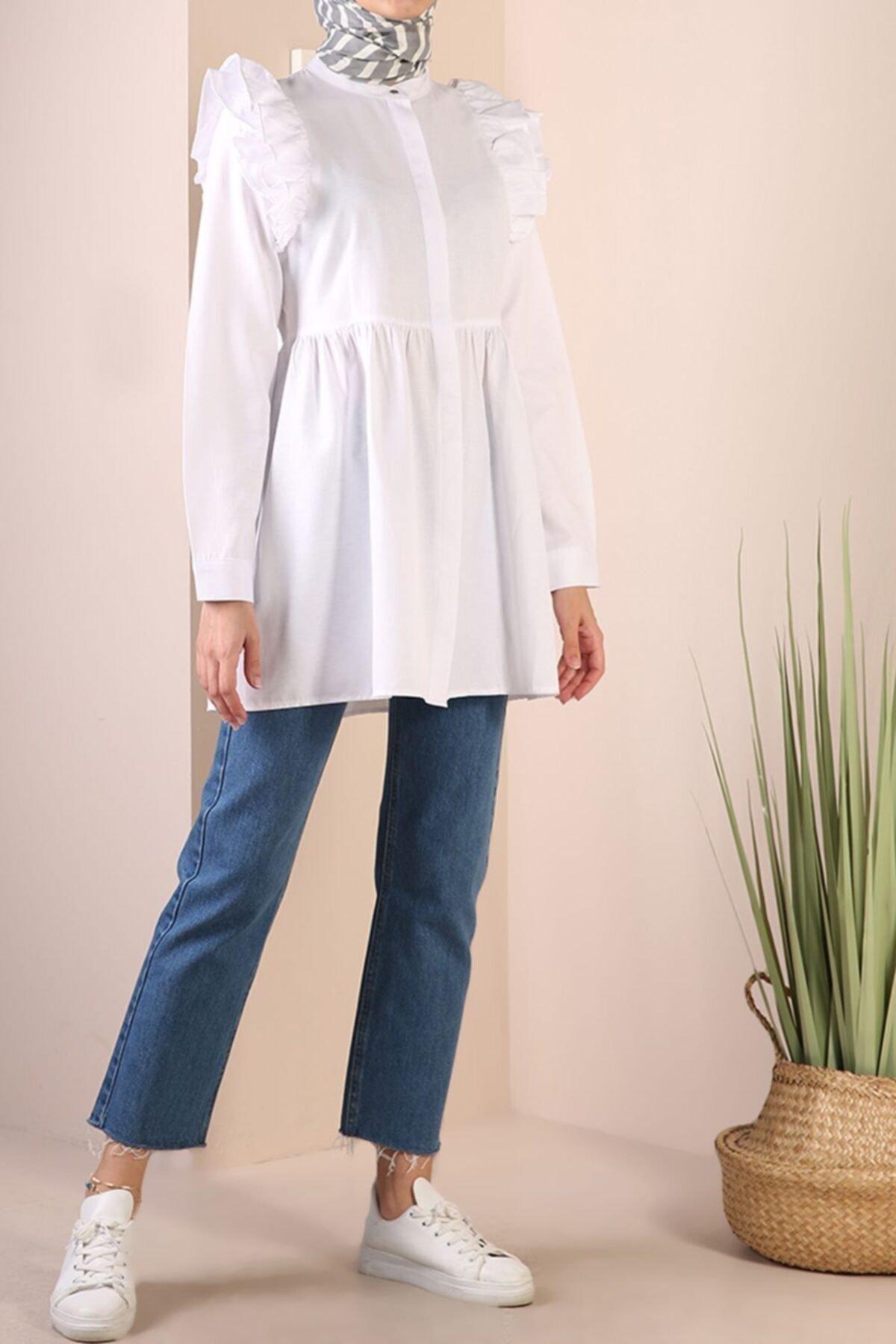 ALLDAY Beyaz Gizli Patlı Omuz Fırfır Detaylı Gömlek 2